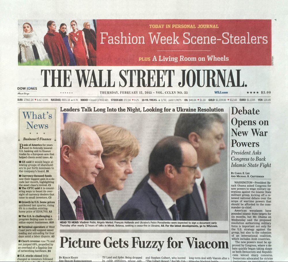 Victor Alfaro Fall 2015 Collection on cover of Wall Street Journal