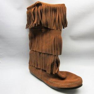 48308a13dd6 minnetonka-boots-women-3-layer-fringe-brown-size-
