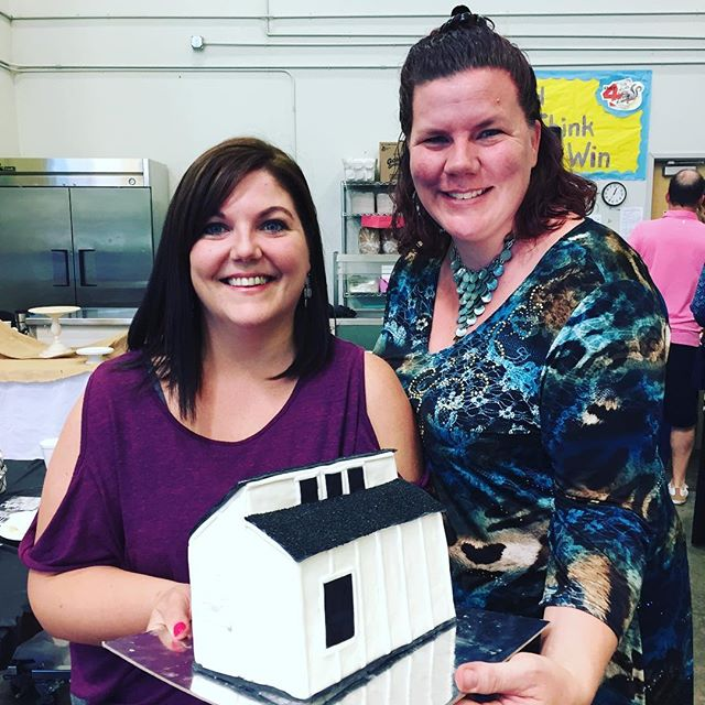 Thank you #trcnatomas for all your help and dedication to solve homelessness! We had a blast at your church fundraiser and look at that  incredible tiny house cake!!