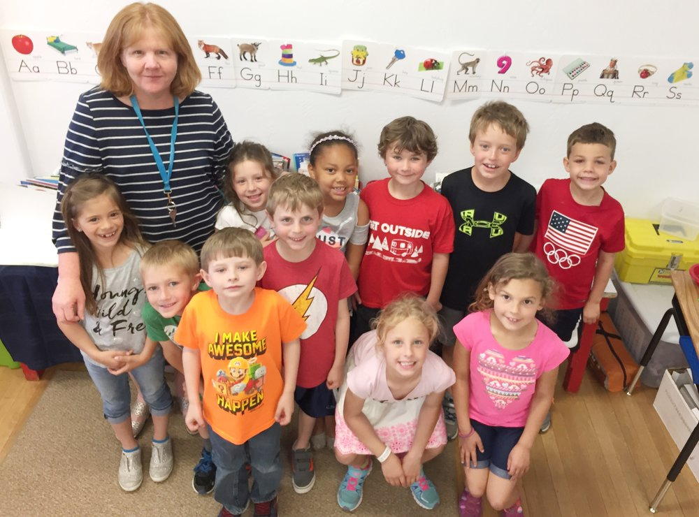 Carrie Cabello and some of her K/1 Students in their classroom.