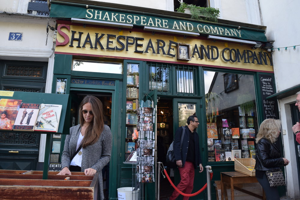 Browsing some books at Shakespeare & Company