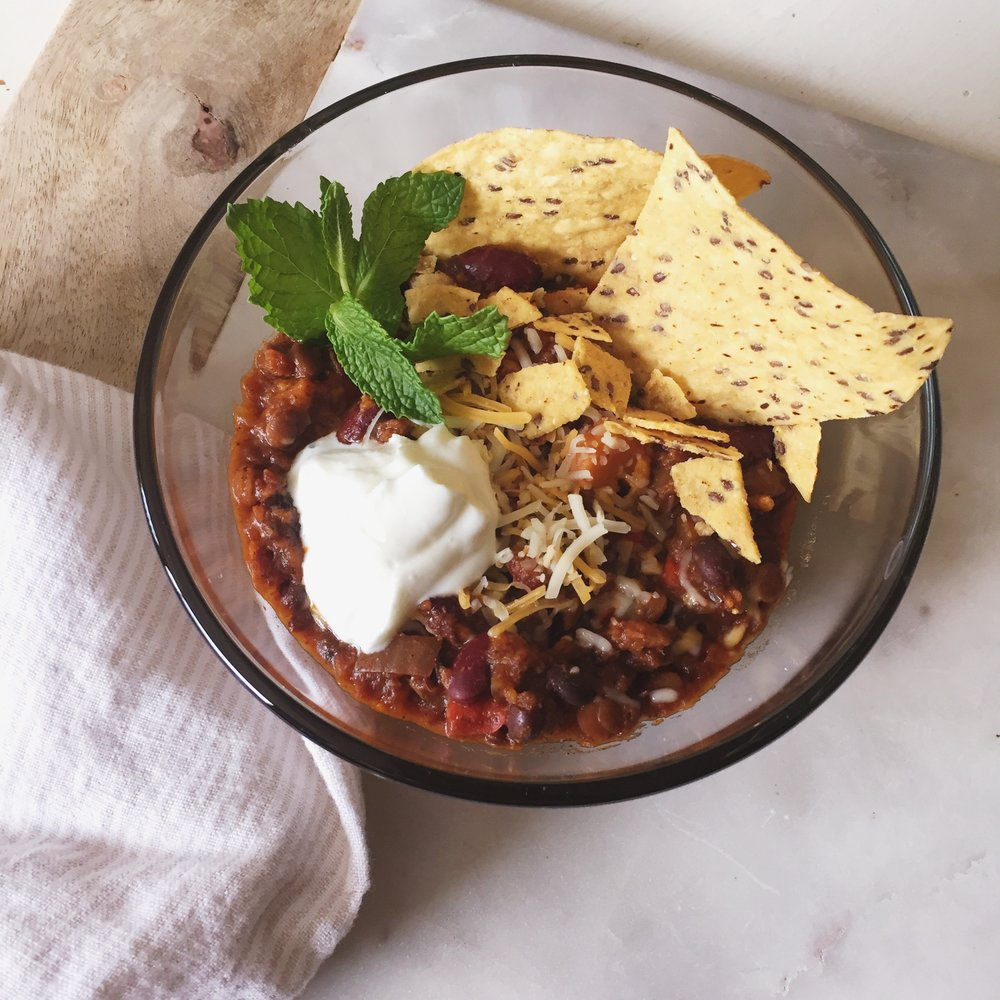 Veggie Lentil Slow Cooker Chili