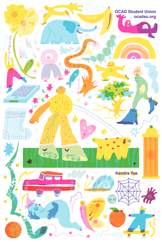 "OCADU Student Union- Illustration for ""Back To School"" flyers"