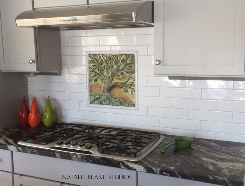 Tree Of Life Porcelain Tile Creates A Focal Point For A Residential Kitchen Backsplash Natalie Blake Studios
