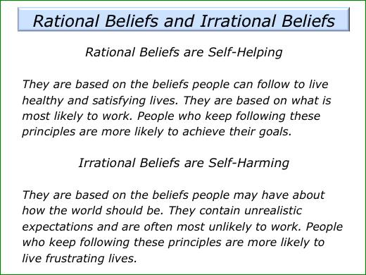 Rational-Emotive Behavior Therapy ( REBT ) teaches individuals how to think rationally and prevent their thinking from becoming crippling.
