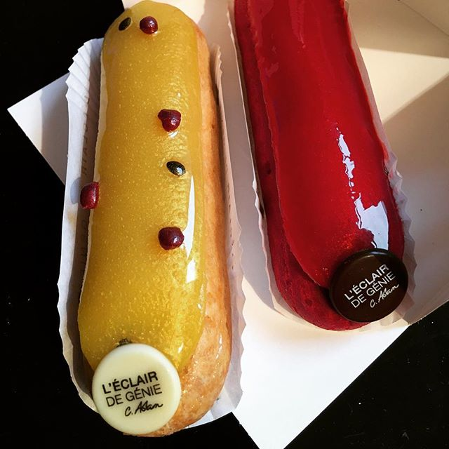 "Passion Fruit/Raspberry and ""Chocolate Kiss"" éclairs. I just hope they taste as good as they look! Happy Valentine's Day! #paris #eclairdegenie #eclairs"
