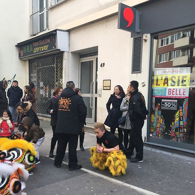 Very cool lion dance for the Lunar New Year in Choisy, Paris's Chinatown. Happy Year of the Dog!