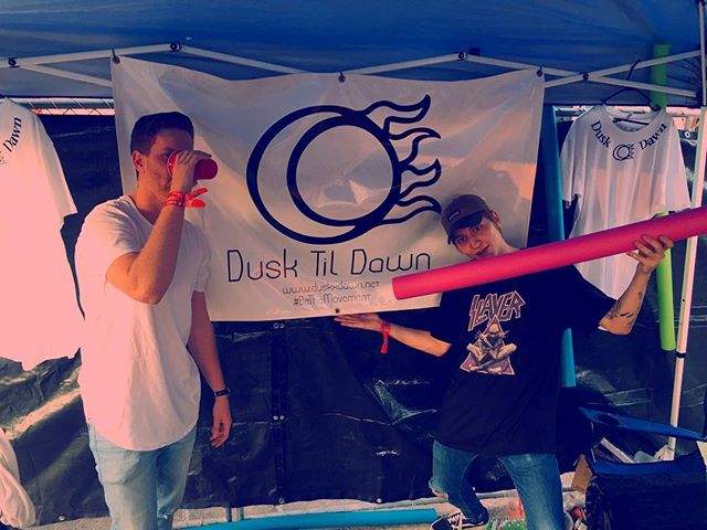 Heroic @hofday headliners @joyzumusic stoping by the DtD Booth!! Check out their set ➡️ 8:10 PM at the #ExhaleStage 👥🔊 #dusktildawn #BeTheMovement