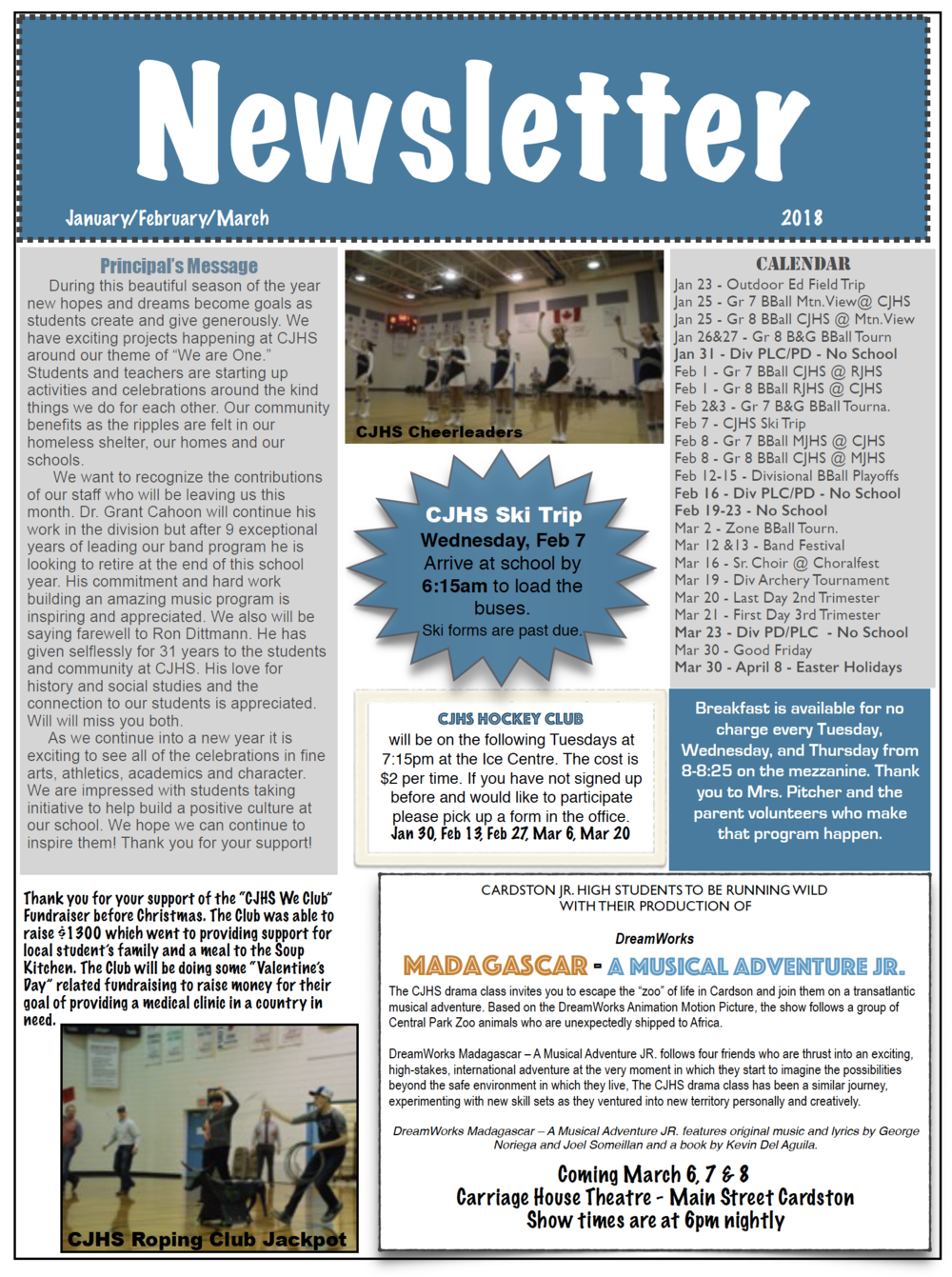 CJHS Jan/Feb/Mar Newsletter