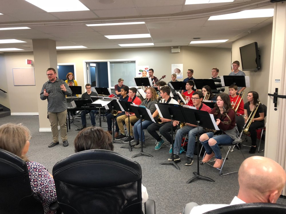 RJHS Jazz Band plays for Westwind School Board