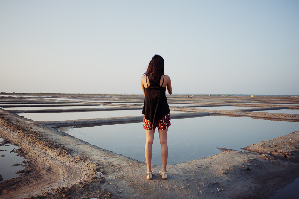 We pull over to gaze at the salt fields.