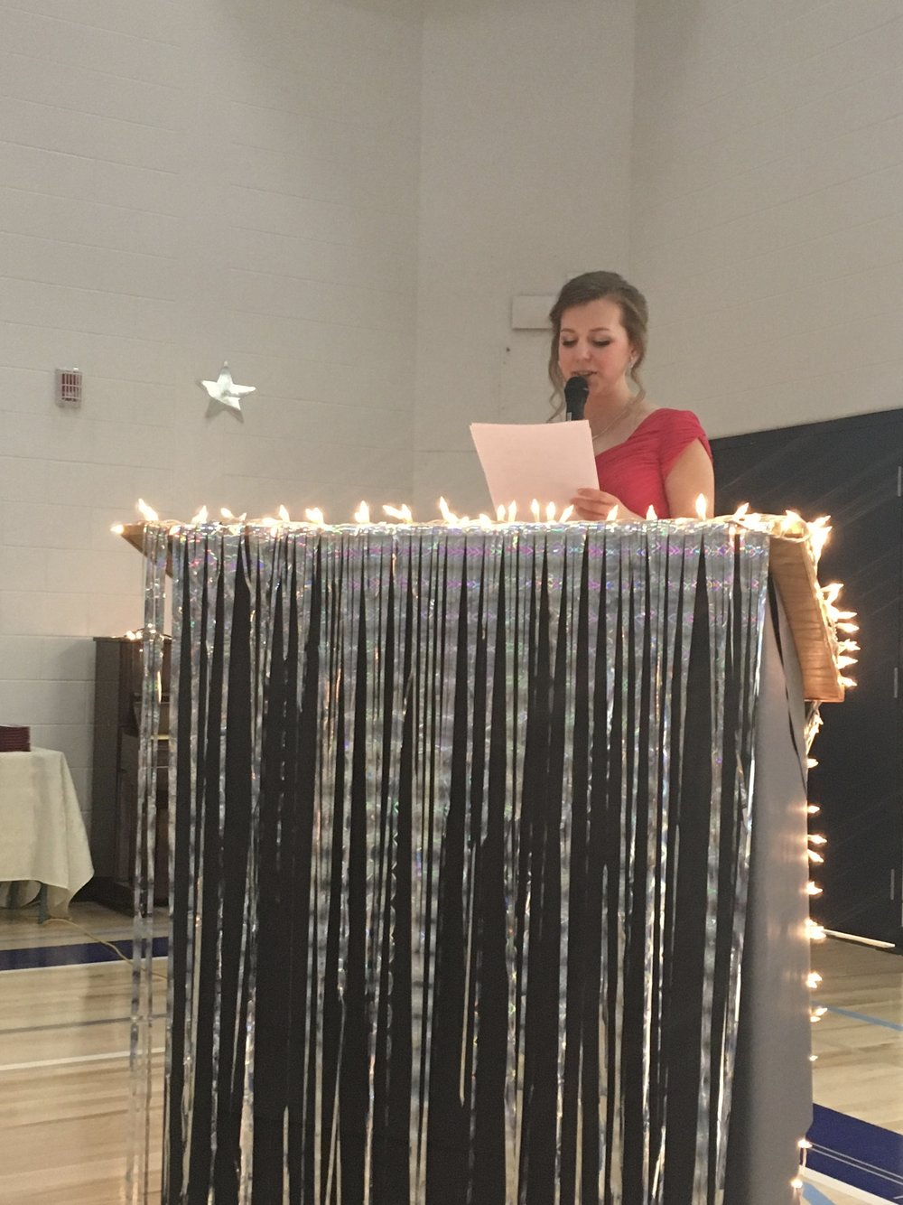Marissa Hogg delivers her speech at the Stirling School graduation ceremony on May 25, 2018.