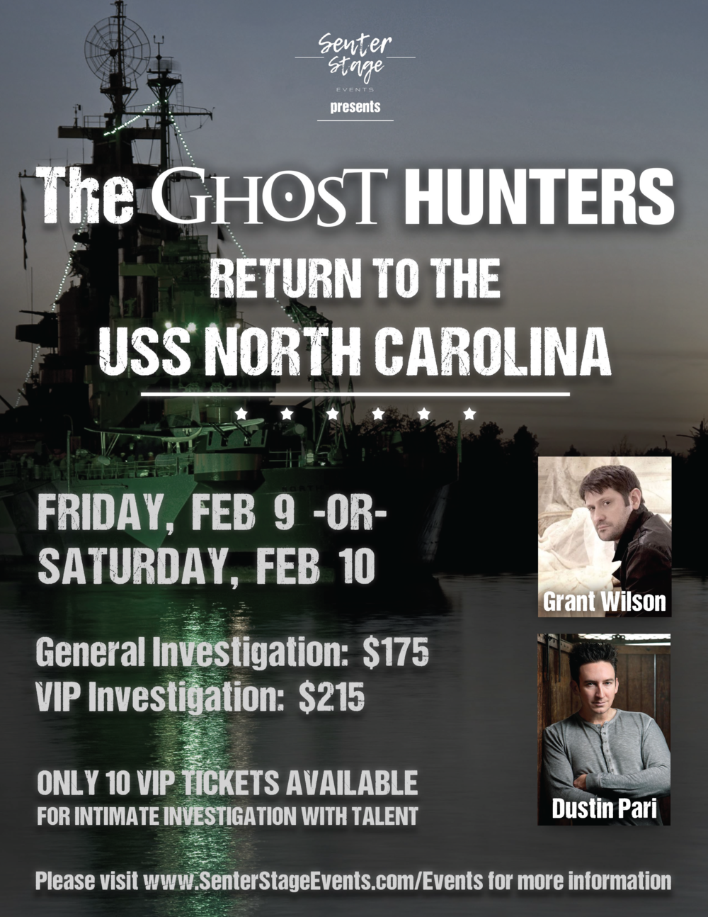 The ghost hunters return to the uss north carolina senter stage there is local wildlife in the area so please keep your eyes peeled when you leave for the evening and refrain from feeding or attempting to pet them kristyandbryce Images