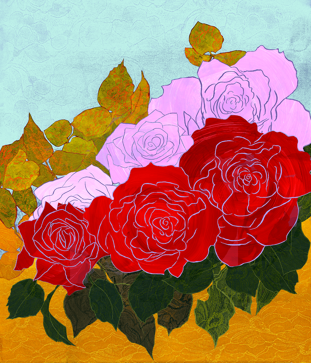 6 Roses 16 x 19 inches