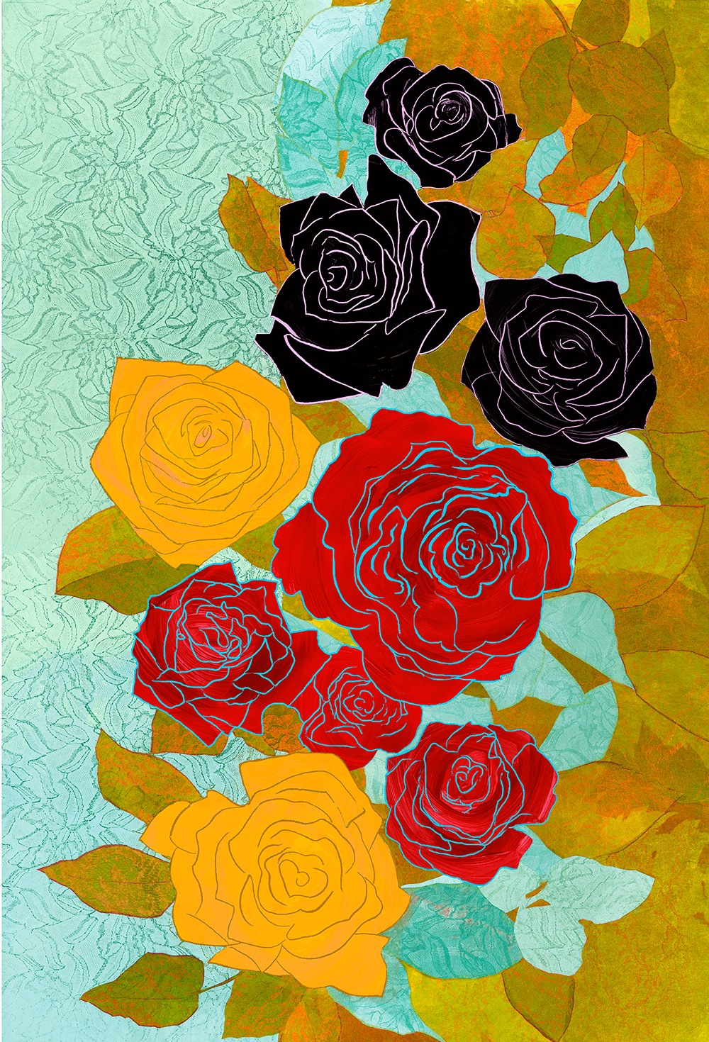 9 Roses 26 x 38 inches