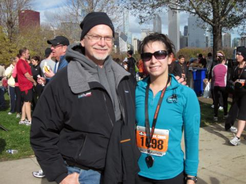 My dad at the finish line of the Monster Dash Half Marathon