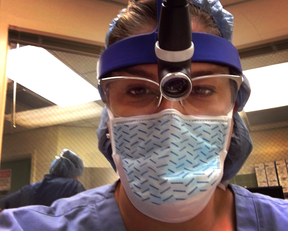 Los Angeles female plastic surgeon Dr. Jennifer Keagle in the operating room