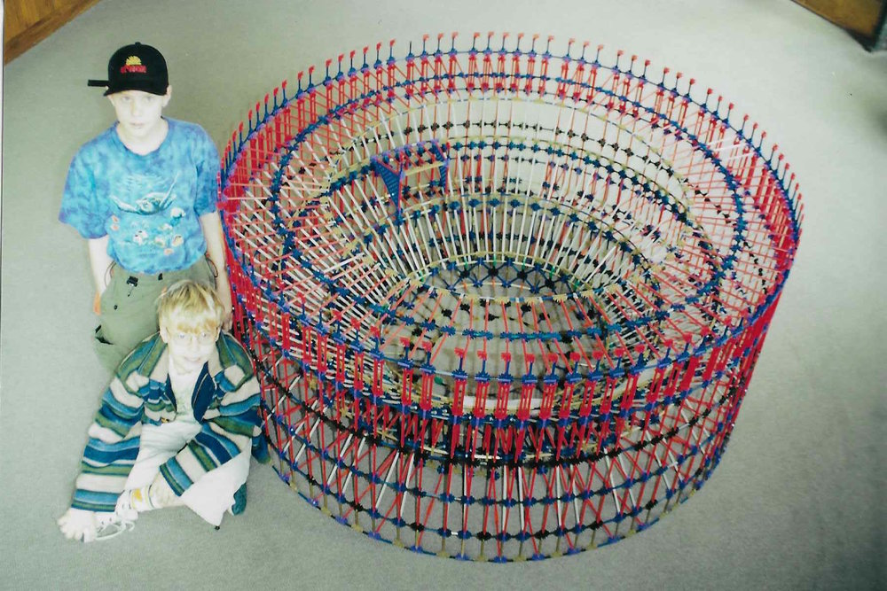 Nicholas and his K'NEX Colosseum.