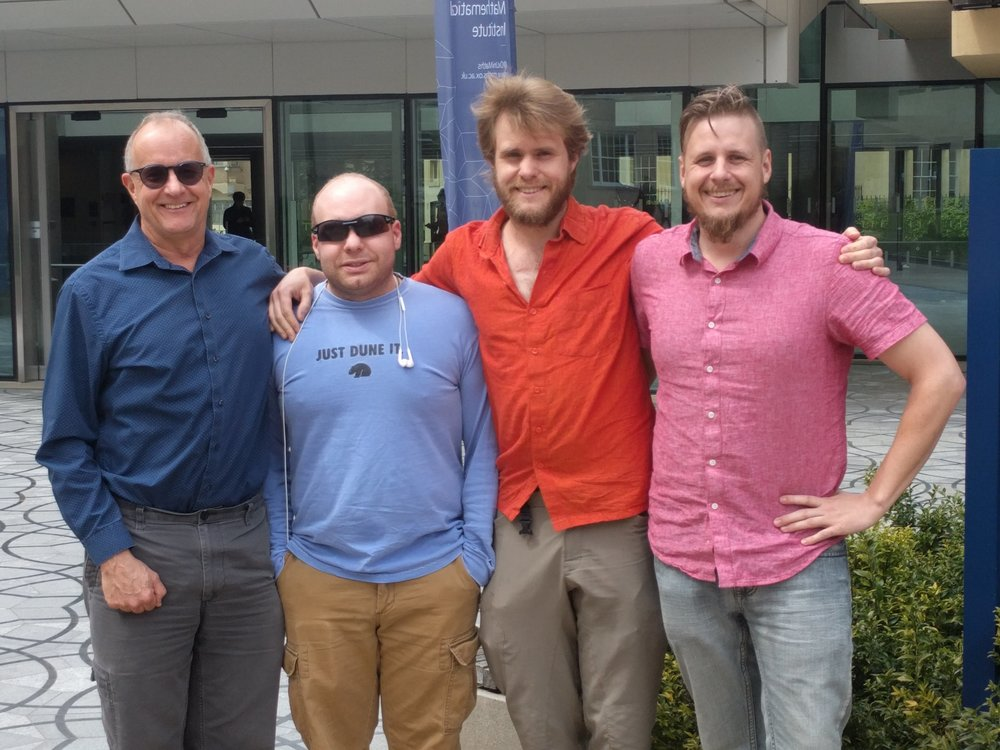 All the boys together (Chris, Isaac, Nicholas, and Nathanael) in front of the Mathematics' Institute.