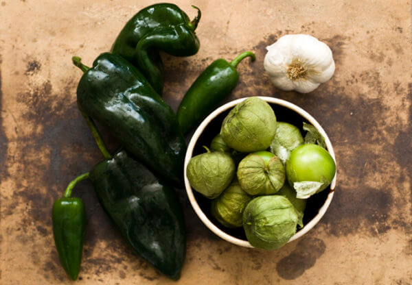 peppers and tomatillo and garlic