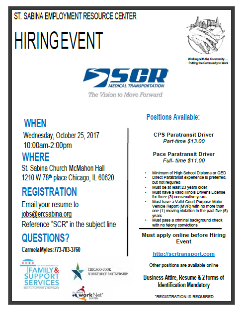 SCR Hiring Event — St  Sabina Employment Resource Center