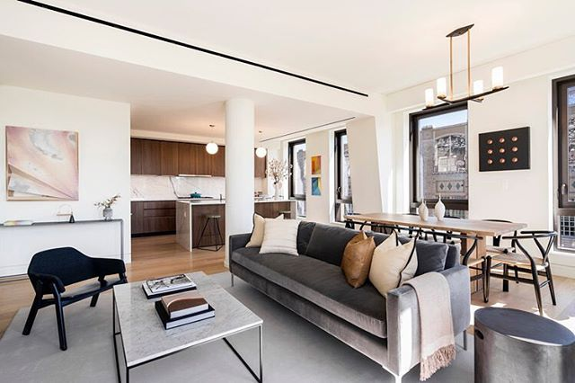 Essex Crossing's 242 Broome has revealed a first look at its units, revealing an ASH NYC-furnished 2-bedroom, 2.5 bathroom spread. The units covers 1,353 SF and is finished with luxe Schumacher wallcoverings. The 12th floor residence, which is asking $2,955,000, is designed with inspirations from the Lower East Side's iconic art scene with mid-century modern ASH NYC furniture and bold, contemporary art from the nearby Denny Gallery. #242Broome #EssexCrossing #DennyGallery #LowerEastSide #LES #NewYorkRealEstate #ASHNYC #SHoParchitects #PROFILEnyc