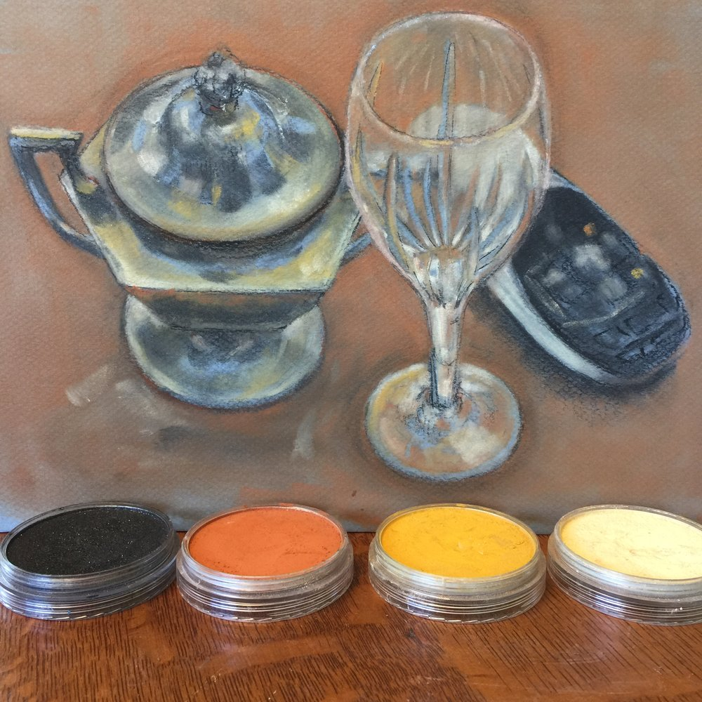 Pan Pastel still life with remote