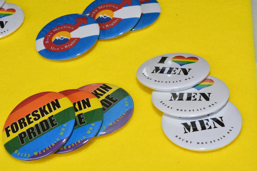 Really neat buttons Rocky Mountain MRA made for Denver PrideFest.