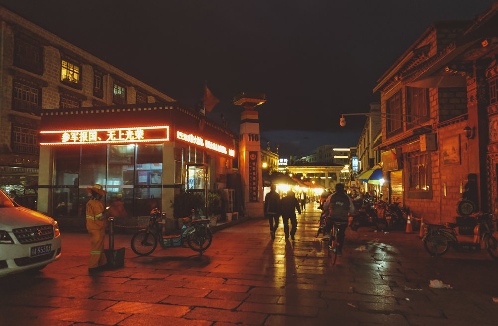 Lhasa at night - Could be Brooklyn, right?