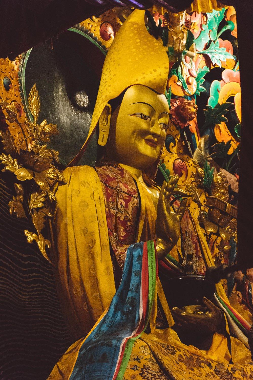 Tsongkhapa - Founder of the Gelug school (yellow hat) of Tibetan Buddhism,