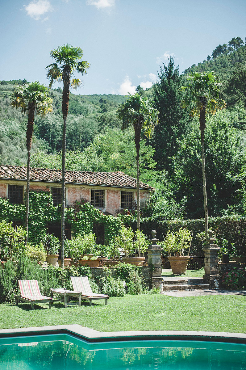 Tuscan villa gardens and pool