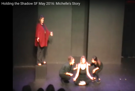 "Screenshot from recording of ""Michelle's story"", one of seven skits"