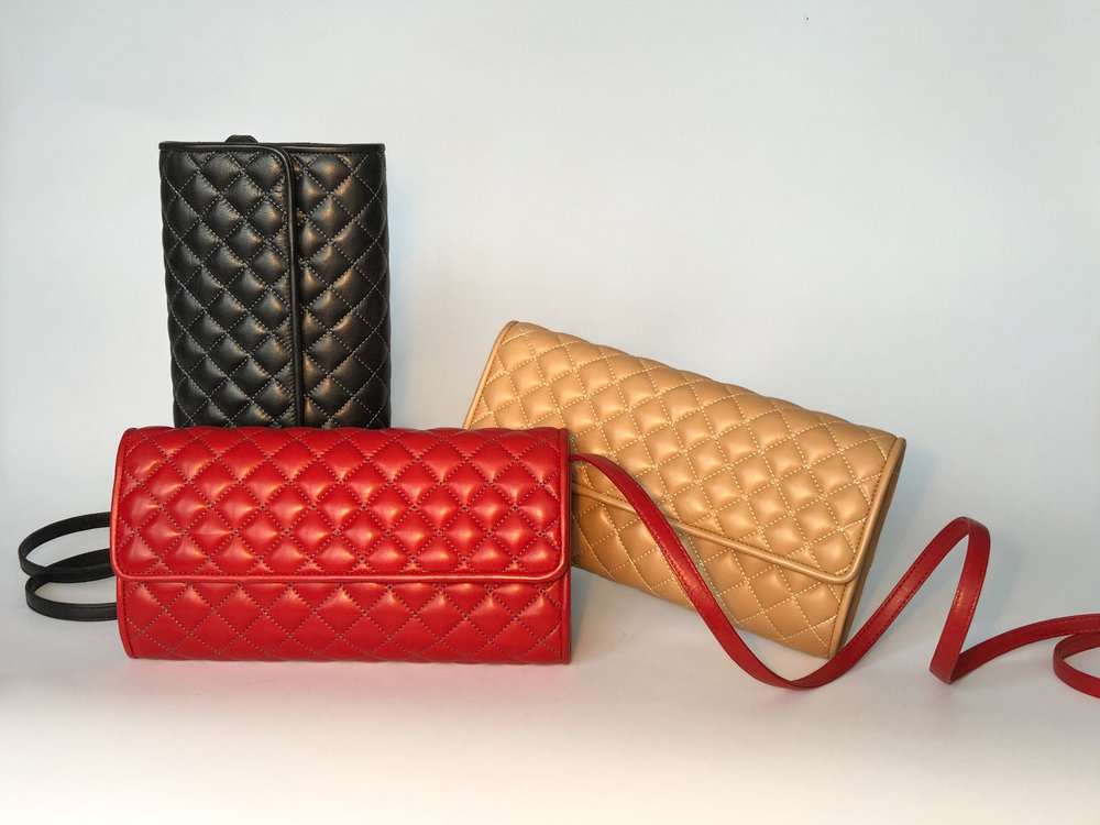 Quilted_Clutch_trio_red_black_camel.jpg