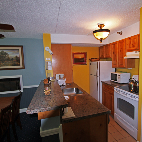 Condo kitchen at Black Bear Lodge Hotel in Waterville Valley, New Hampshire.