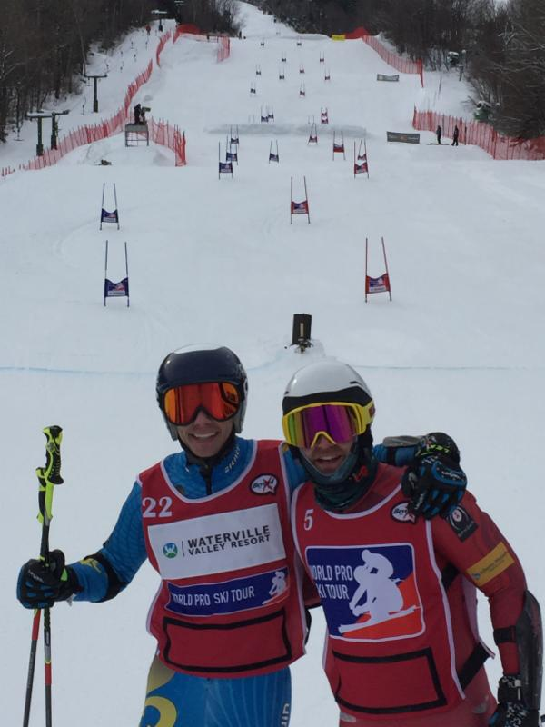 2018 U.S. Olympian Nolan Kasper, right, of Warren, Vermont, and Philippe Rivet of Montreal, Quebec, after competing in World Pro Ski Tour qualifying Friday at Waterville Valley, New Hampshire. Photo credit: Craig Marshall.