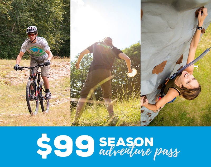The Adventure Pass costs $44 for a day or $99 for the entire season. And, pass holders get unlimited access to a chairlift into the National Forest, mountain biking, full access to the vertical zone (climbing tower and bungee trampoline in Town Square), 2 free disc rentals and more.