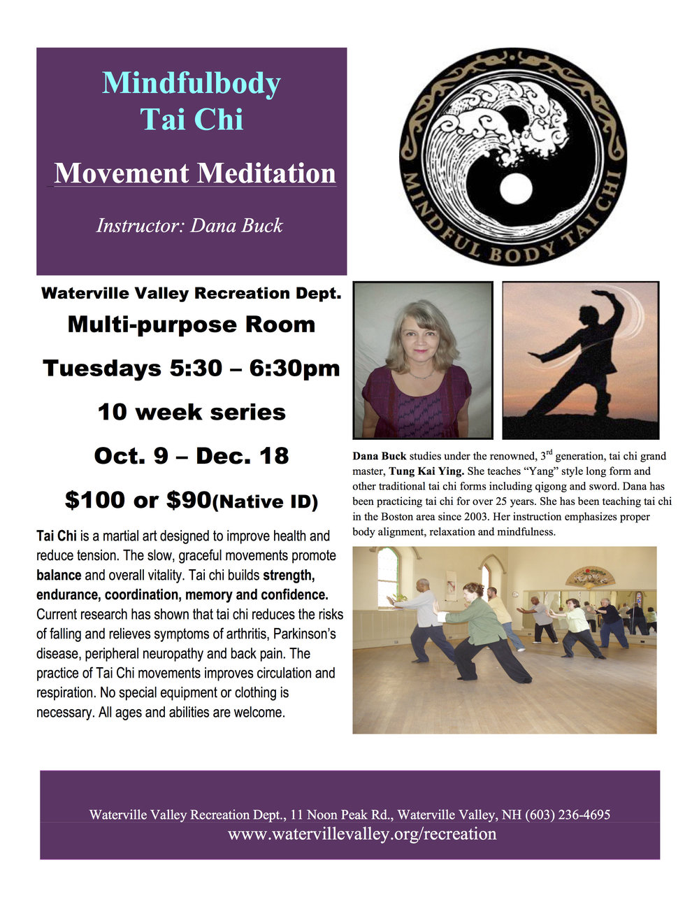 Tai Chi is back! This class is designed for everyone! No special equipment or clothing needed. Class runs Tuesdays from October 9 - December 18 (no class Nov. 6) from 5:30-6:30pm