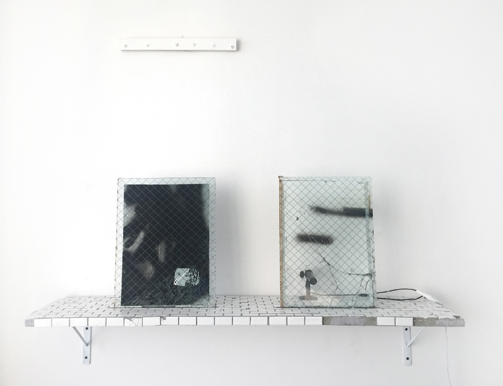 Sean Donovan yet to be titled, 2016 wire safety glass, wood, porcelain, acrylic paint, interrogation film, camera, monitor with live feed 17 3⁄4 x 48 x 11 inches (45 x 122 x 28 cm) SD27
