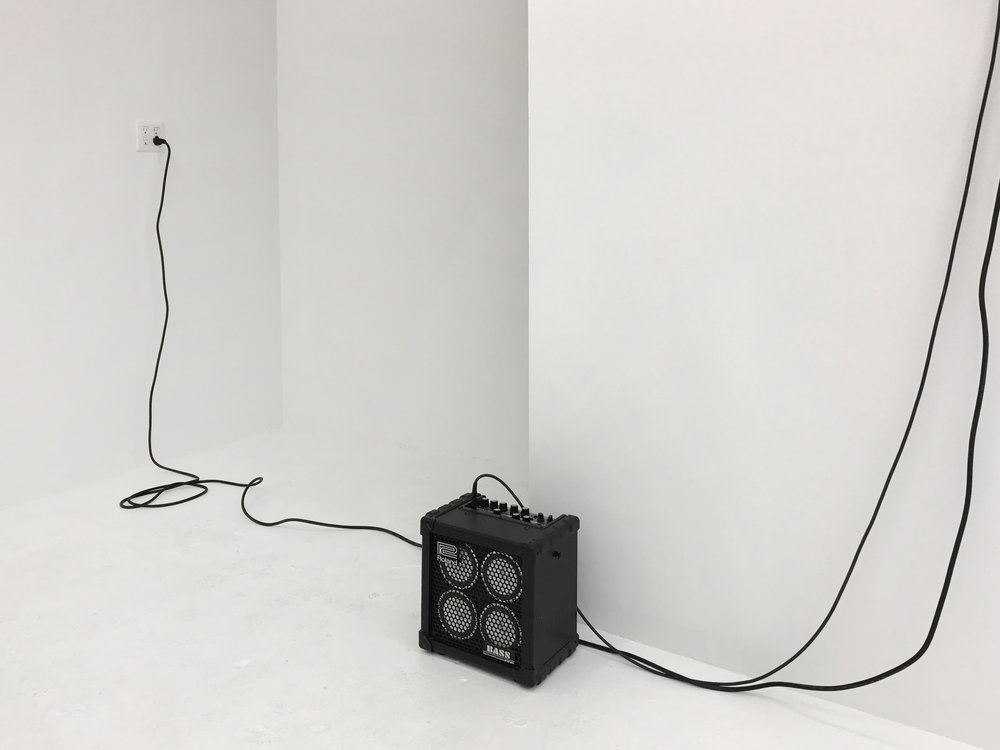 Sean Donovan  Not a good choice , 2017 (amplifier) oil transformer, wire, Plexiglas, hot rolled steel, microphone, amplifier 24 x 40 inches (61 x 102 cm)