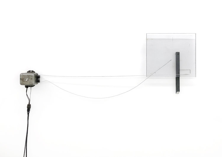 Sean Donovan  Not a good choice , 2017 oil transformer, wire, Plexiglas, hot rolled steel, microphone, amplifier 24 x 40 inches (61 x 102 cm) SD29