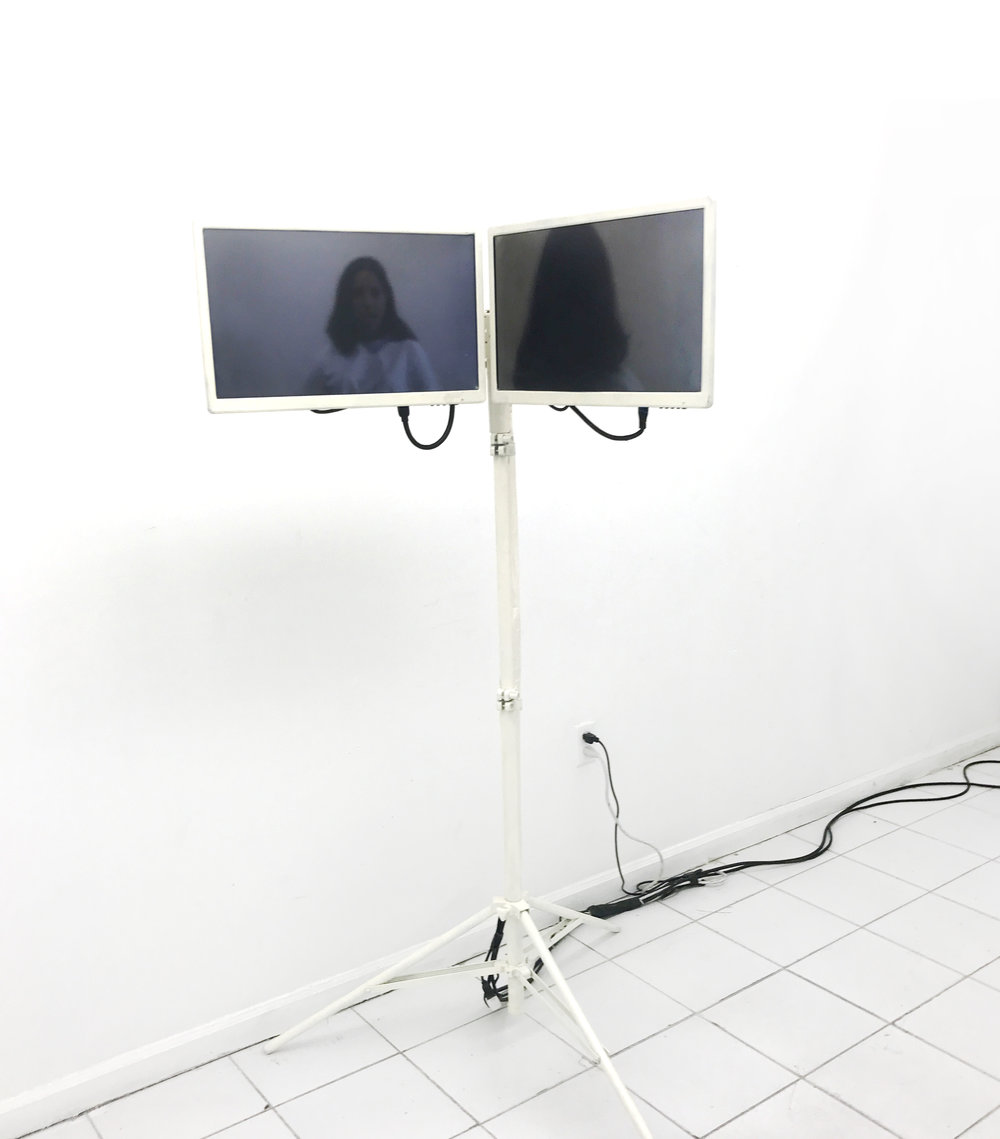Sean Donovan,  Richard Vivenzio  Hello Goodbye, 2017  monitors, video loop, tripod 56 x 32 inches (142 x 81 cm)