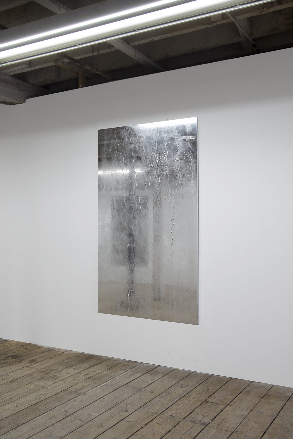 Mikkel Carl  Untitled (You Hate the Fact that You Bought the Dream and They Sold Your One),  2018  mirror foil mounted on canvas, aluminium stretcher bars 75 1⁄2 x 43 1⁄2 inches (183 x 110 cm) MC23