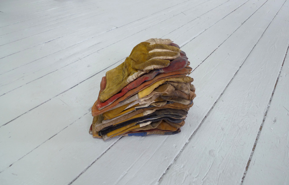 Brian Dario  Foam,  2018 18 unpaired gloves 18 x 6 x 9 inches (46 x 15 x 23 cm) (BD1)