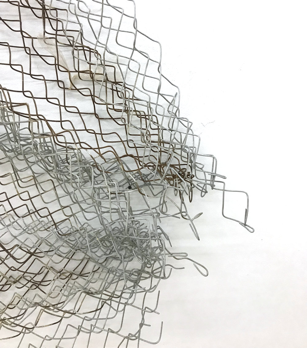 Sean Donovan  Untitled , 2018 (detail) acid soaked galvanized chain-link fencing, screws 83 x 72 x 9 inches (211 x 183 x 23 cm) (SD46)