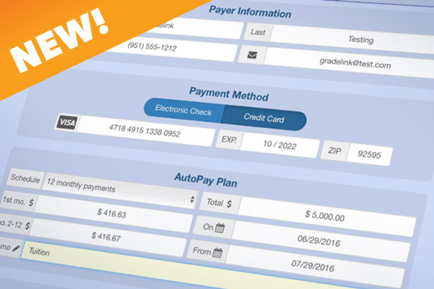 Gradelink AutoPay for recurring payments