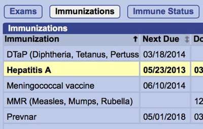 Students' immunization records