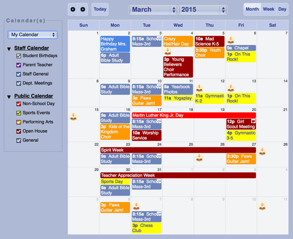 Gradelink includes both a staff calendar and a public calendar visible to the whole school