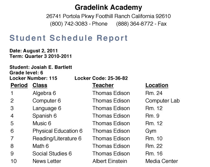 <strong>Student Schedule</strong>