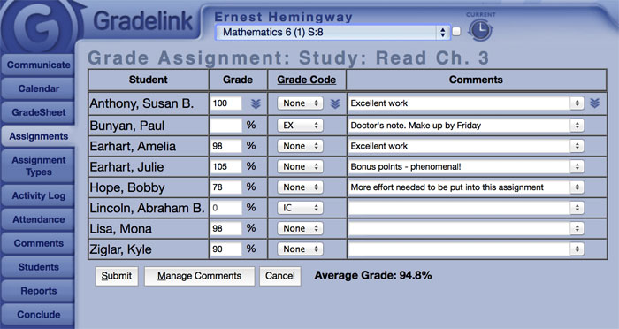 Grade assignments for individual students or the whole class