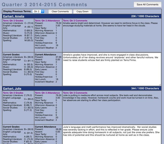 GradeSheet comments